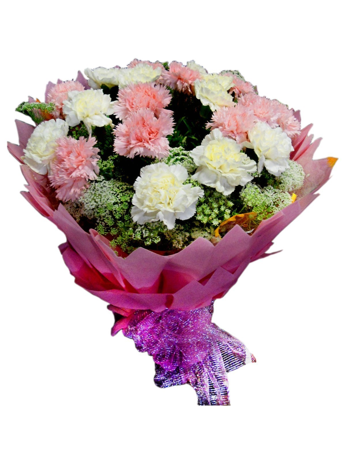 Flower bouquet online send bunch of flowers shop in faridabad white and pink carnation izmirmasajfo